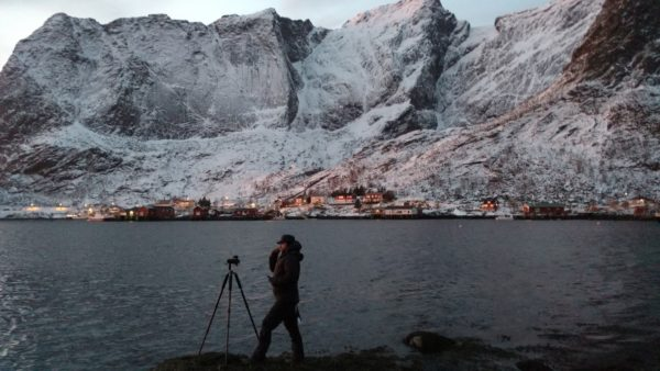 Kelsey Wood taking photos in Reine, Lofoten Islands, Norway