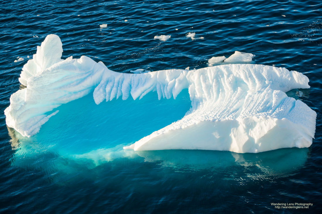 Water pooling in an iceberg