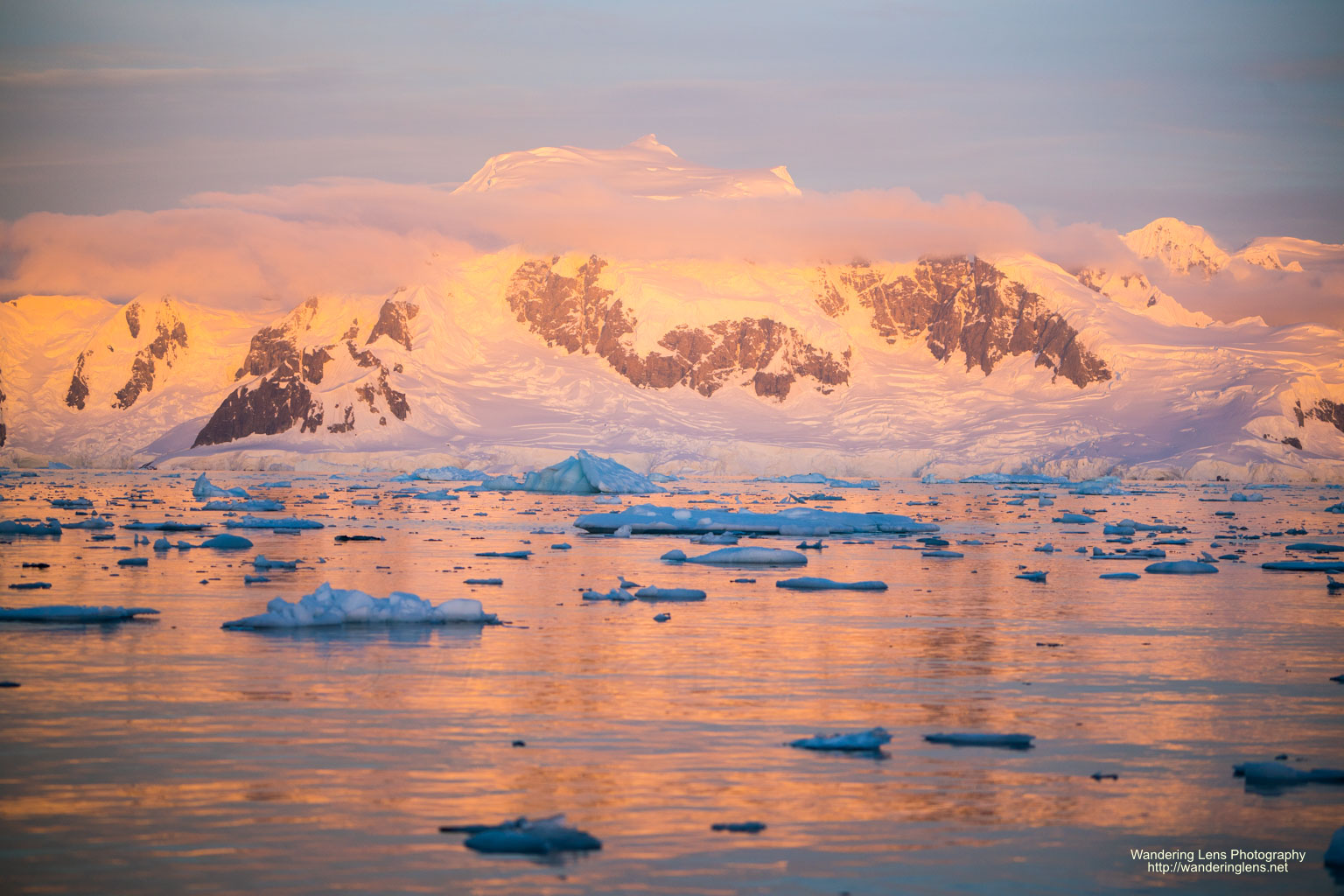 The sun sets on the Antarctic Peninsula.