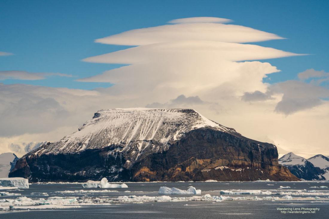 Lenticular clouds over Red Island, Weddell Sea, Antarctica