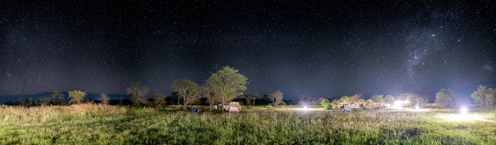 A panoramic of our camp at night in the Serengeti National Park, Tanzania.